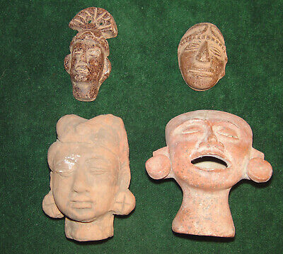 Lot of 4 Vintage Pre Columbian Terracotta Heads 20th Century Reproductions