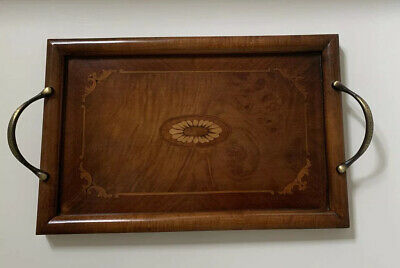 Beautiful Labrazel Italy Wooden Inlaid Tray With Brass Handles
