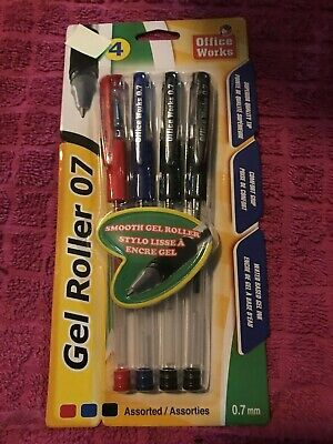 NEW - 4 PACK - GEL ROLLER 0.7mm PENS (CANADIAN SHIPPING) #20506