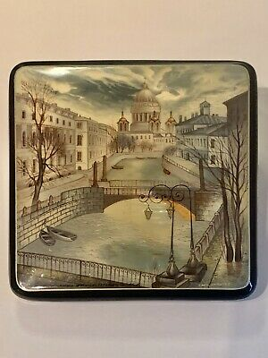 Fedoskino Russian Hand Painted Lacquer Box, St. Petersburg Russia, Signed