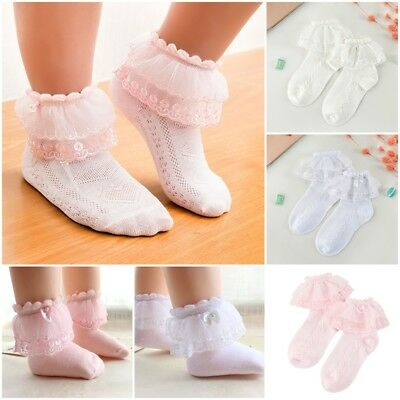 Cute Baby Girl Super Soft Lace Frilly Ankle Socks Cotton Short Socks 2-12Y Gifts