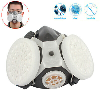 Gas Shiled Full Face Facepiece Respirator Suit Painting Spraying Double Filter