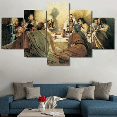 Last Supper Jesus 12 Apostles 5 Pieces canvas Wall Art Print Picture Home Decor