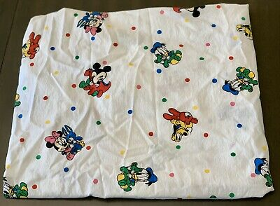Vintage Disney Dundee Baby Toddler Fitted Crib Sheet Mickey Minnie Pluto Donald