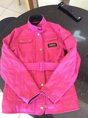 Barbour Girls Quilted Jacket Cerise Pink Country Size Xl 12/13 Yr Zip Childs