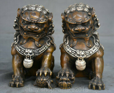 "6.4""Marked Old China Bronze Silver Fengshui Foo Fu Dog Guardion Lion Pair Statue"