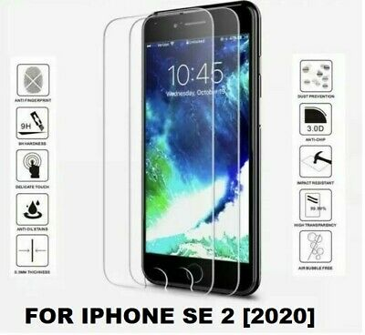 100 Tempered Glass Screen Protector Protection for Apple iPhone SE 2 [2020]
