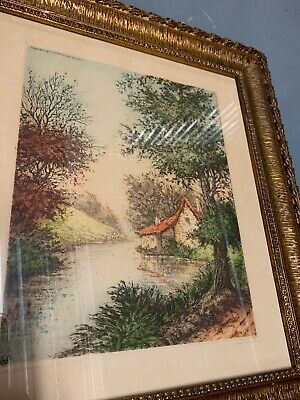 "French Art Deco Period Color Etching, ""La Nierre, Premery"", Signed ""Pierre"""