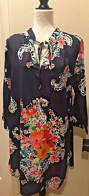 RALPH LAUREN NAVY FLORAL PRINT WOMEN'S NIGHT GOWN PAJAMA SLEEP SHIRT Size L