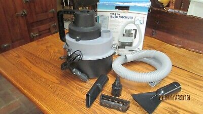 Wet & Dry Auto Vacuum W/Attachments Powered by Car Accessary Lighter