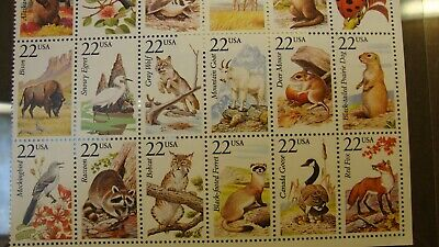 """Us Scott #2286 Sheet Of 25 """"American Wildlife"""" Stamps  22 Cent Face Mnh"""