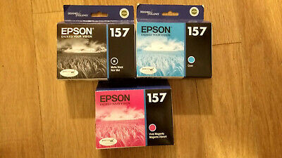 Genuine Lot 3 Epson #157 K3 Ink T1572/T1573/T1578 Stylus Photo R3000 New Oem
