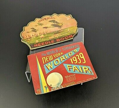 VTG 1939 New York Worlds Fair Needle Book & Imperial Needle Book Sewing Decor