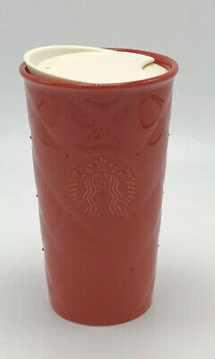Starbucks Quilted Holiday Double Wall Traveler Tumbler Mug Red Swarovski Crystal