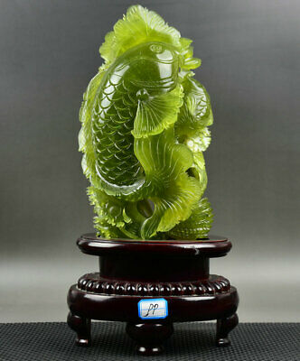"""14"""" Chinese Natural Green Xiu Jade Jadeite Carved Seaweed Two Fish luck Statue"""
