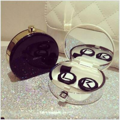 Black & Gold Contact Lens Case with Solution Holder Tub, Mirror & Tweezers