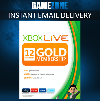 12 Month Xbox Live Gold Membership For Microsoft Xbox 360 / Xbox One Fast Europe