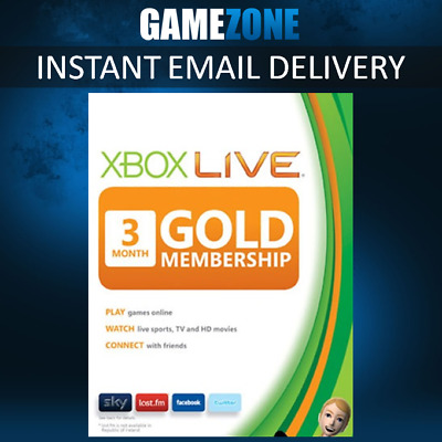 3 Month Xbox Live Gold Membership Subscription Microsoft Xbox One / 360 - Europe