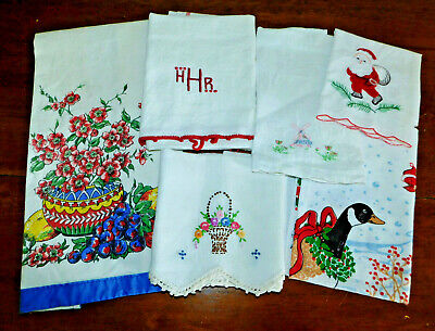 Lot of 6 Vintage Tea Towels Linen Cotton Embroidered Printed