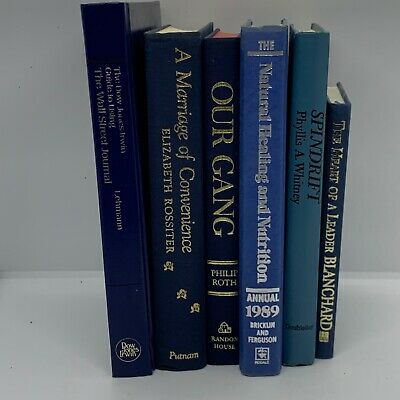 Lot 6 Shades of Blue Modern Old Vintage Antique Rare Hardcover Random