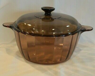 Corning Ware Vision 4.5L Dutch Oven Stock Pot & Pyrex Lid Amber Glass Panel USA