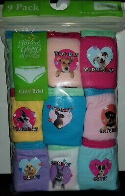 NEW Girls Faded Glory 9 Pack Day of the Week Animals Cotton Brief Underwear 12