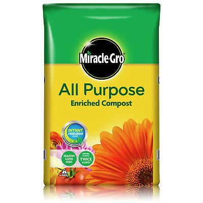 Miracle-Gro Multi Purpose Compost Home Garden Growing Soil 6 Month Feed