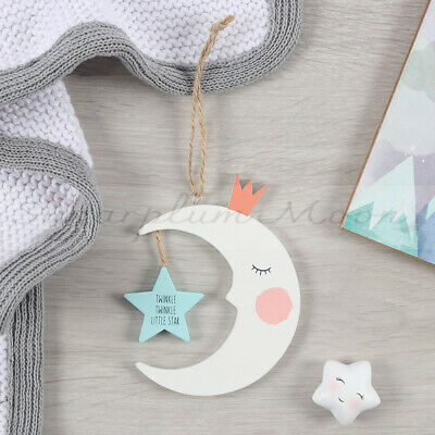 Novelty Double-Sided Baby Nursery Wooden Hanging Moon Bedroom Sign Wall Decor