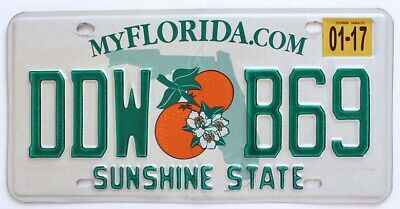 Florida Orange Blossom License Plate - Very Good Condition (RANDOM PLATE NUMBER)