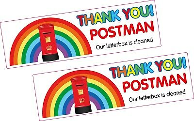 2 x RAINBOW Vinyl Sticker THANK YOU POSTMAN OUR LETTERBOX IS CLEAN Profit 2 NHS