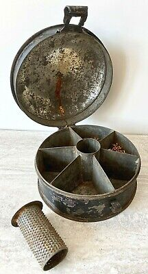 Georgian Japanned Metal Spice Box with Six Compartments & Nutmeg Grater