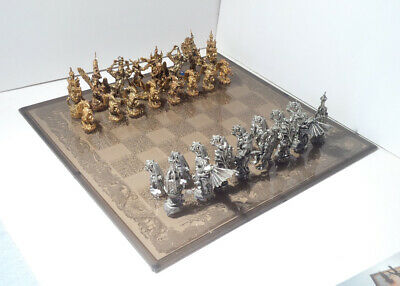 Age Of Sorcery Pewter 24K Gold Plated Chess Set - Rare! #184