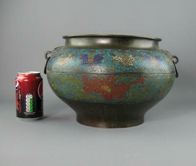 Antique Chinese Qing Bronze Cloisonne Twin Handled Planter Pot Bats Seal Mark
