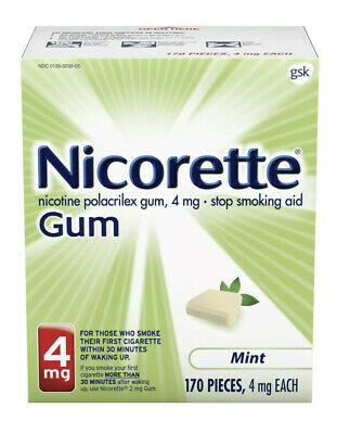 Nicorette Gum 4mg Mint, 170 Pieces, Exp. 12/19  *NEW & SEALED* FREE SHIPPING!