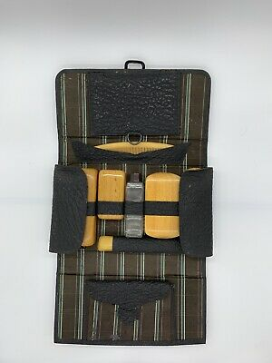 Vintage Men's Travel Grooming Toiletry Case Kit Hanging Pouch Mohawk Brushes