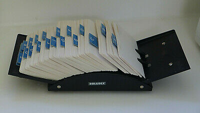 ROLODEX FILE BLACK METAL w/cards & dividers, heavy duty.