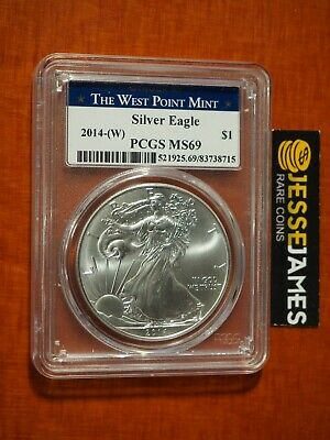 2014 (W) Silver Eagle Pcgs Ms69 Struck At West Point Blue Label
