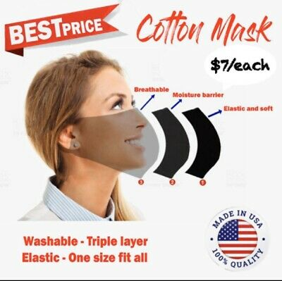 3 PACKS Face Mask Adult Washable Made USA Fabric Cotton Mouth mask TRIPLE LAYERS