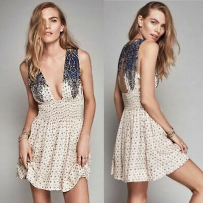 Anthropologie Free People Walking Through My Dream Fit-N-Flare Mini Dress