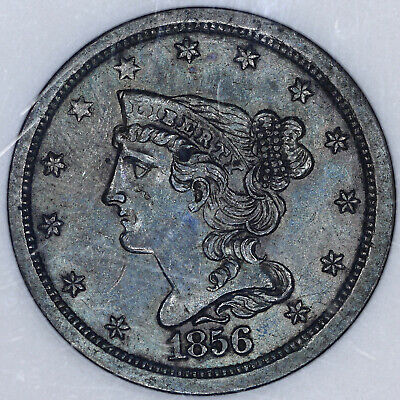 1856 Braided Hair Half Cent 1/2C ANACS MS60BN - Blue Toning