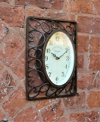 Garden Station Clock Indoor Outdoor Rust effect Westminster 24cm x 30cm
