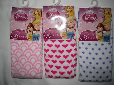 """Bnwt- 3 Pair """"Disney Princess"""" Socks - 3 Sizes And Designs -Free Post To Uk Only"""