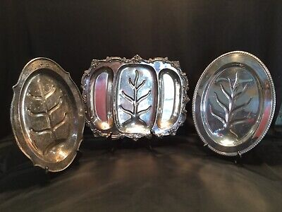 Vintage Set of Three Silver Plated Serving Trays
