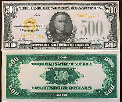 Reproduction United States $500 Bill 1928 Gold Certificate Copy USA Currency