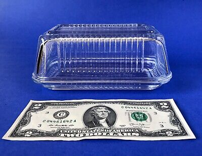 ⭐️Clear Glass Covered Butter Dish 1-Pound Ribbed Vintage Large Near Mint