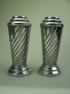 Pair Art Deco nickle plated metal flower posy vases spiral design