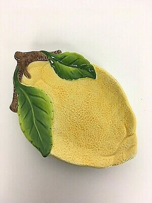 "Sur La Table Lemons Plate Platter Green Leaves 10-1/4"" x 6-7/8"" Retired DW Safe"
