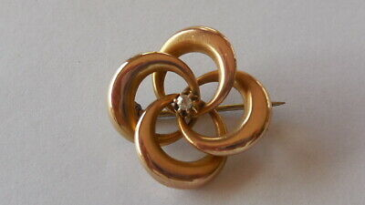 Antique Victorian 10ct Rose gold, Old Mine Cut Diamond Love Knot Brooch, 2.35gm