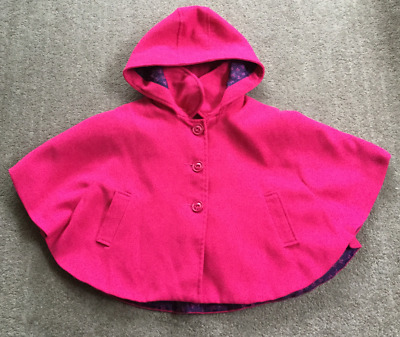 F&F Cape Style Coat Fleece with Hood 5-6 years  Dark Pink 116cms Chest 58cms