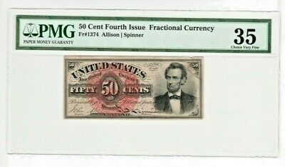 FR-1374 50 CENT Fourth Issue FRACTIONAL Lincoln PMG 35